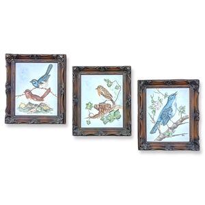 3 vtg bird paintings, gesso frame porcelain